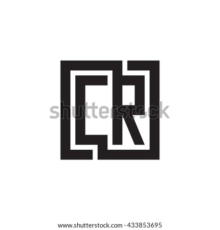 CR initial letters looping linked square monogram logo