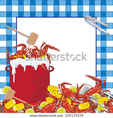 Crab Boil party invitation. Hot bubbling red pot of crab with corn on the cob, potatoes and lemons, mallet and crab utensil sit on a newspaper with a blue checkered tablecloth patterned background.