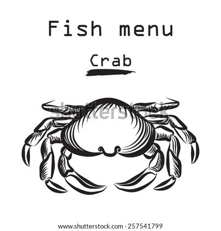 Crab icon. Sea food menu label. Fish restaurant cover background. - stock vector