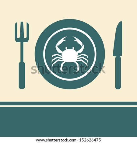 Crab in a dish on the table - stock vector