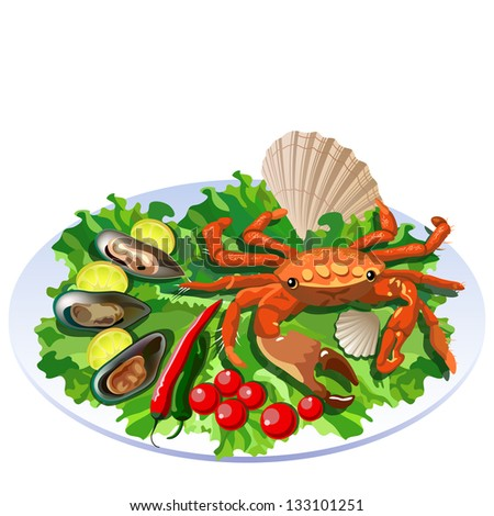 Crab in the dish with salad, tomatoes and molluscs with lemon slices - stock vector