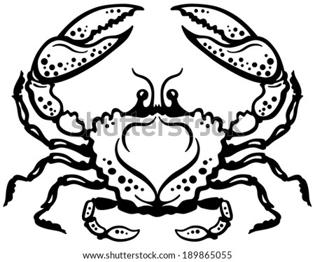 crab or cancer astrological zodiac sign, black and white image - stock vector