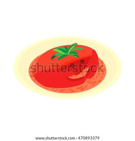 Crab soup icon in cartoon style isolated on white background. Food symbol