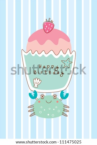 crab with birthday muffin - stock vector