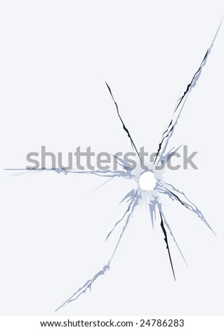 cracked damage hole fracture glass - stock vector