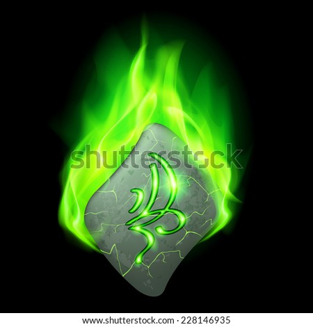 Cracked diamond-shaped stone with magic rune in green flame