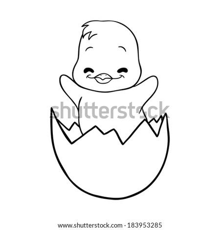 Cracked egg with cute bird inside - stock vector