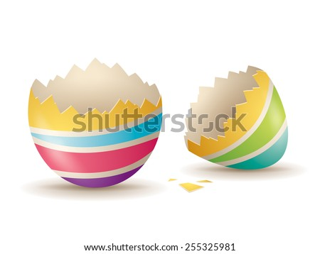 Cracked eggshell. An empty egg shell halves over white background. - stock vector