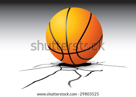 cracked floor with basketball - stock vector