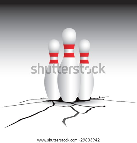 cracked floor with bowling pins