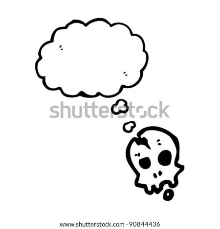 cracked skull with thought bubble