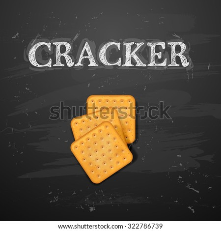 Cracker cookies isolated on blackboard - stock vector