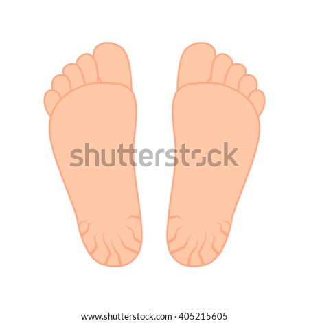 Cracks in the heels. Patients requiring treatment feet. Flat vector isolated on white background