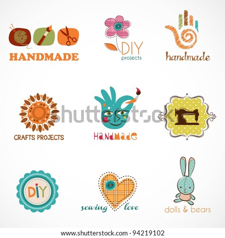 Craft and do it yourself, collection of icons - stock vector
