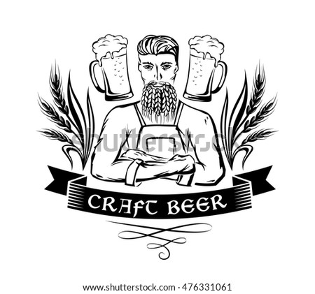 Craft beer emblem. Hipster brewer with wheat beard, ornament decorations and beer mugs. Monochrome vector illustration