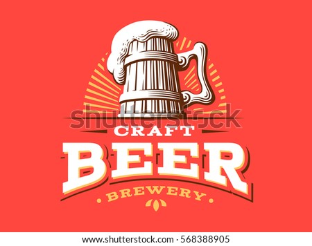 set beer logo vector illustration emblem stock vector