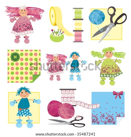 Craft icons - Rag Dolls Icons for sewing, knitting, crafts, hobbies - stock vector