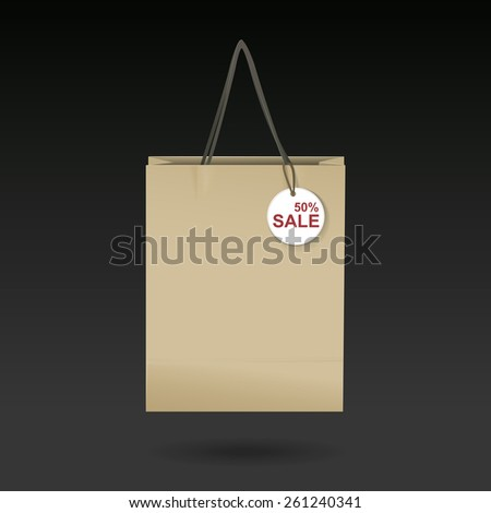 craft paper bag isolated on black background - stock vector