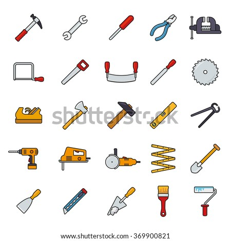 Crafting Tools Filled Line Icons Vector Set. Collection of filled line tools and crafting icons isolated on white background - stock vector
