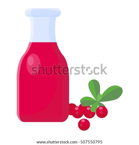 Cranberries and cranberry juice isolated on white background. Healthy cocktail refreshment cranberry juice fruit, beverage vector illustration. Refreshing healthy cranberry juice organic vitamin.