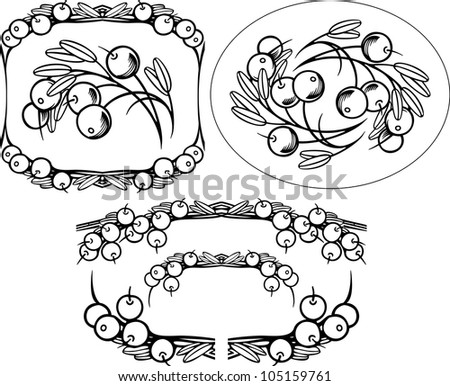 Cranberry engrawing picture. Vector illustration - stock vector