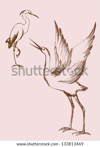 crane and heron - stock vector