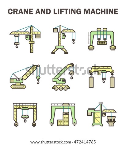 Crane and lifting machine icons sets.