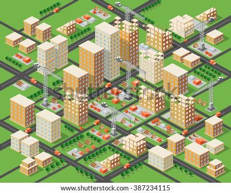 Crane construction industry town Isometric big city - stock vector