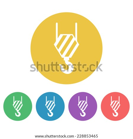 crane hook flat colored round icons - stock vector