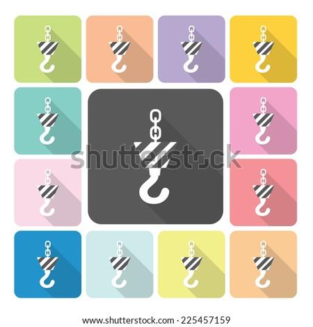Crane hook Icon color set vector illustration. - stock vector