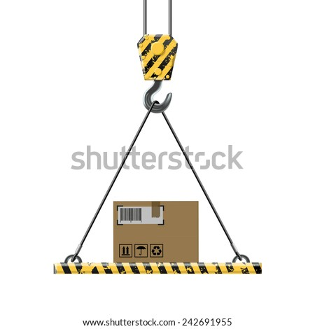 Crane lifts a box with cargo - stock vector