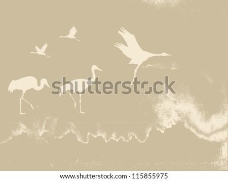 crane silhouette on grunge background, vector illustration - stock vector