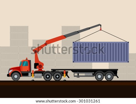 Crane truck loading container cargo box on trailer. Side view mobile crane truck vector illustration - stock vector
