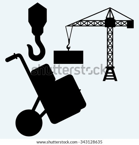 Crane working, hook of a crane and hand truck with post packages. Isolated on blue background. Vector silhouettes - stock vector