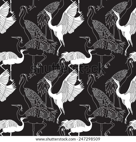 Cranes birds seamless black and white pattern - stock vector
