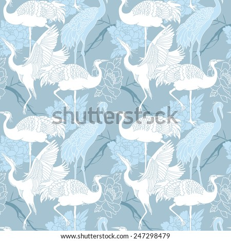 Cranes birds seamless light blue color pattern - stock vector