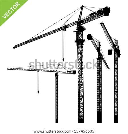 Cranes silhouettes vector - stock vector