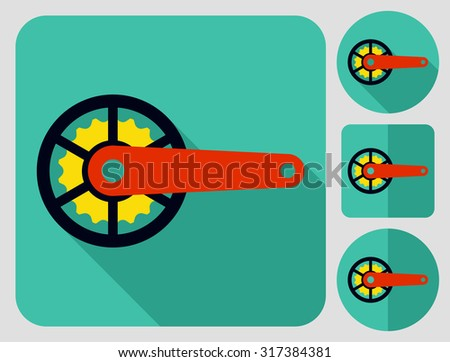 Crank-set icon. Bike parts. Flat long shadow design. Bicycle icons series. - stock vector