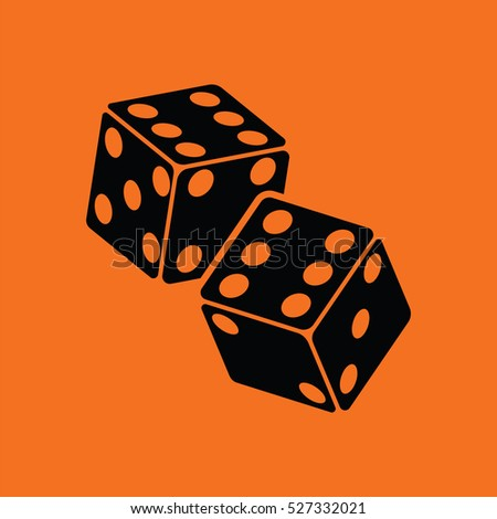 Craps dice icon. Orange background with black. Vector illustration.