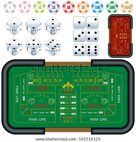 craps table - stock vector