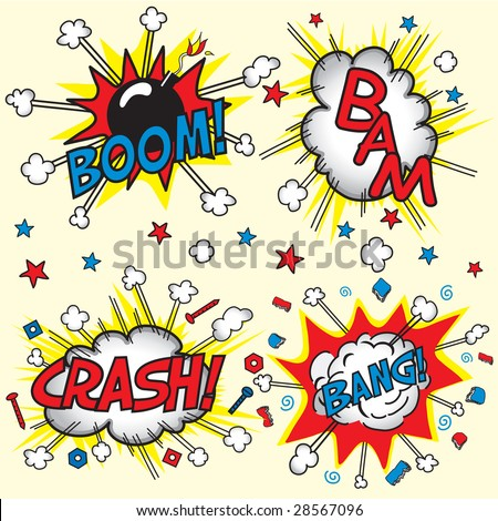 Crash, Boom, Bam and Bang! Four grouped Comic book cloud bursts and explosions! - stock vector