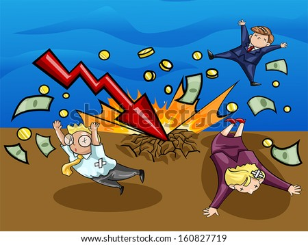 Crash of economic downturn. A lighting of economic recession graph strike the ground and kill all businesspeople. Create by vector