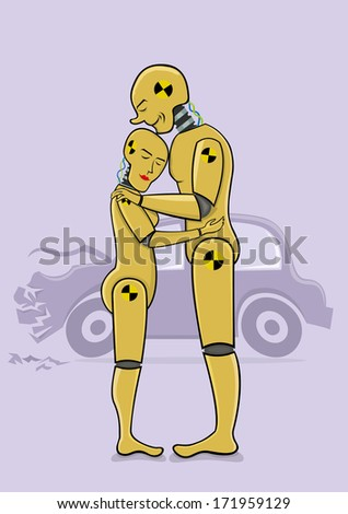 Crash test dummies in love - stock vector