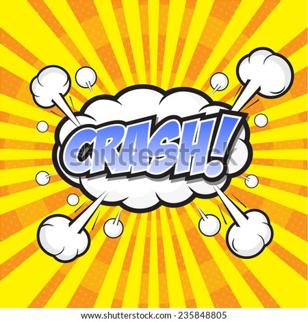 CRASH! wording sound effect set design for comic background, comic strip