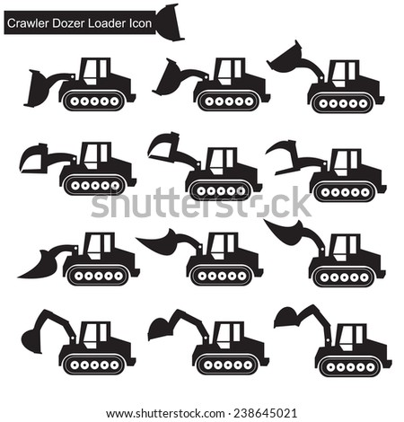 Crawler Dozer Loader Icon - stock vector