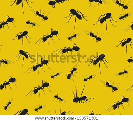 Crawling ants. Seamless pattern in vector