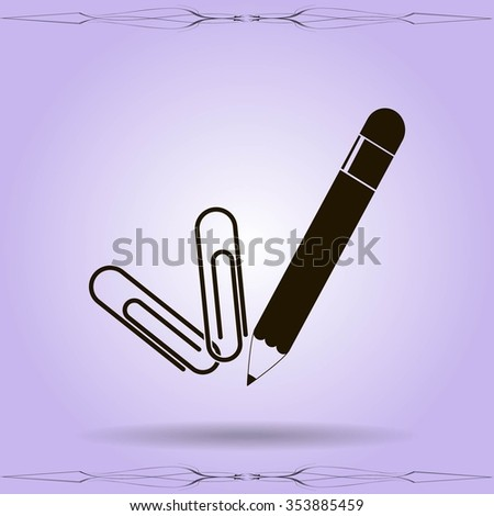 crayon and staples - stock vector