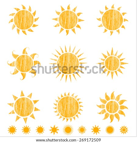 Crayon Suns - Set of 9 sun icons with crayon texture.  Each icon is grouped individually for easy editing.  Includes sun icons without texture. - stock vector