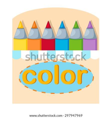 crayons box ,illustration,vector - stock vector