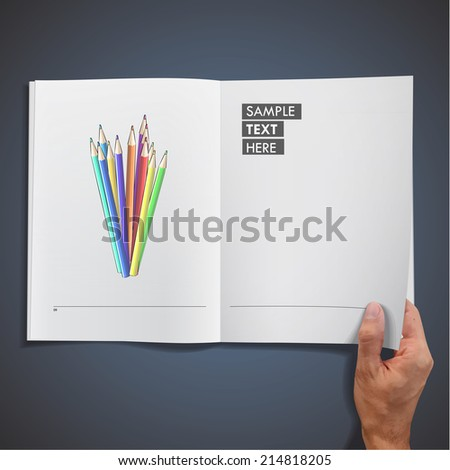 crayons printed on book. vector design - stock vector